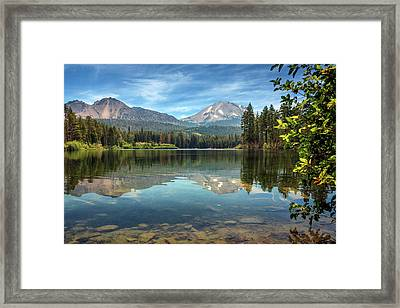 Mount Lassen From Manzanita Lake Framed Print by James Eddy