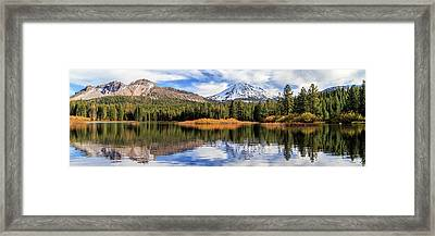 Framed Print featuring the photograph Mount Lassen Reflections Panorama by James Eddy