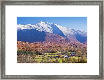 Mount Mansfield Autumn Snowfall Framed Print