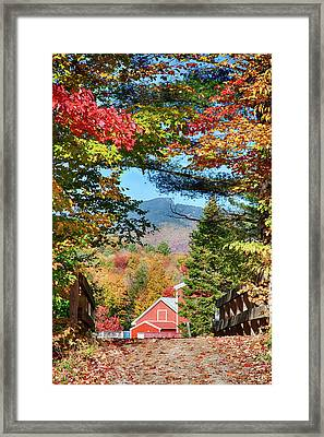 Framed Print featuring the photograph Mount Mansfield Seen Through Fall Foliage by Jeff Folger