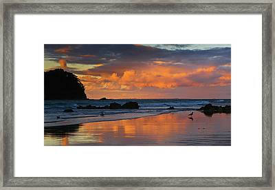 Mount Maunganui Beach Sunset Framed Print by John Buxton