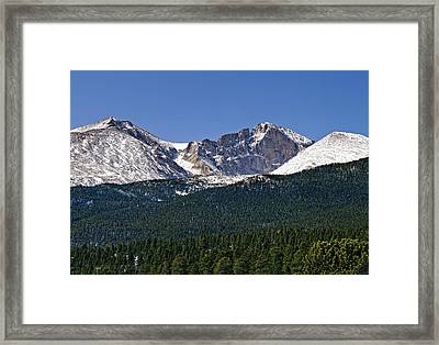 Mount Meeker On The Far Left Longs Peak In The Middle Mount Lady Washington To The Right Framed Print by Brendan Reals