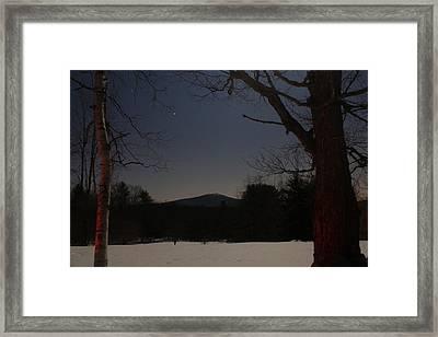Mount Monadnock Over Moonlit Field Framed Print by John Burk