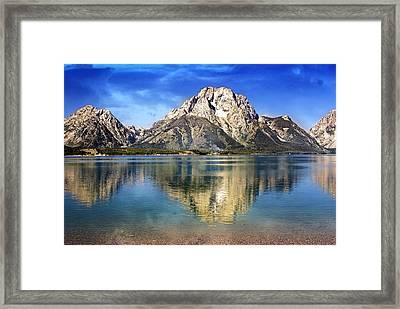 Mount Moran Across The Lake Framed Print by Marty Koch