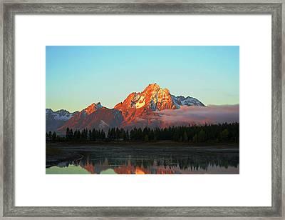 Mount Moran Aglow Framed Print by Brent Parks