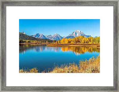 Mount Moran From The Snake River In Autumn Framed Print by James Udall