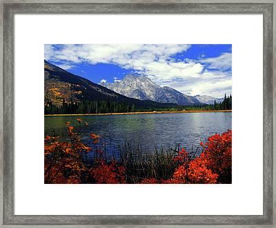 Mount Moran In The Fall Framed Print by Raymond Salani III