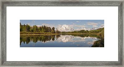 Mount Moran On Oxbow Bend Panorama Framed Print by Brian Harig