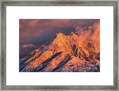Framed Print featuring the photograph Mount Olympus Winter Sunset by Spencer Baugh