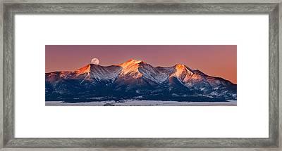 Mount Princeton Moonset At Sunrise Framed Print by Darren White