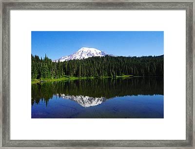 Mount Rainer Reflecting Into Reflection Lake Framed Print