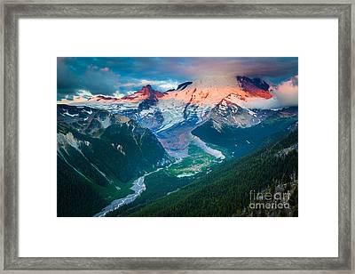 Mount Rainier And White River Framed Print by Inge Johnsson
