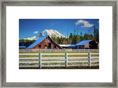 Mount Rainier Barns Framed Print