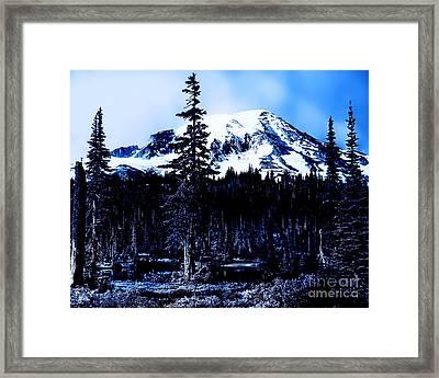 Mount Rainier Blue... Framed Print by Eddie Eastwood