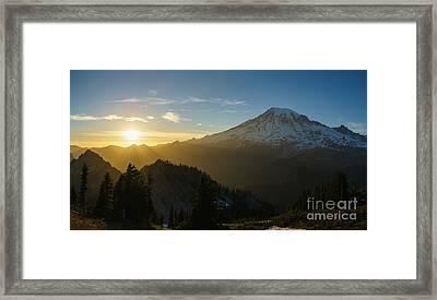 Mount Rainier Dusk Fallen Framed Print by Mike Reid