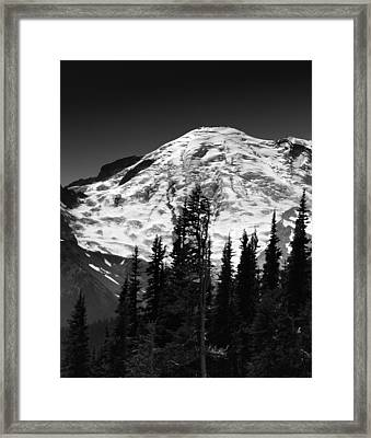Mount Rainier Emmons And Winthrop Glaciers Washington  Framed Print by Brendan Reals