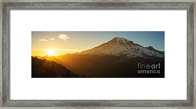 Mount Rainier Evening Light Rays Framed Print