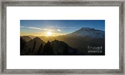 Mount Rainier Golden Dusk Light Framed Print by Mike Reid
