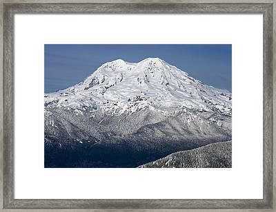 Mount Rainier In Winter From Mount Tahoma Trails High Hut Washi Framed Print by Ed Book