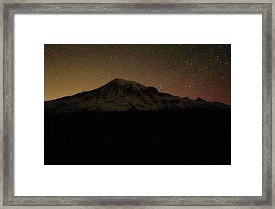 Mount Rainier Night Sky Framed Print by Dan Sproul