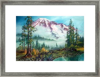 Framed Print featuring the painting Mount Rainier by Sherry Shipley