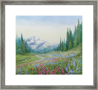 Mount Rainier Wildflowers Framed Print by Elaine Jones