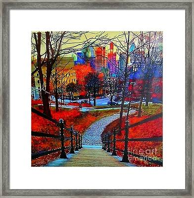Framed Print featuring the painting Mount Royal Peel's Exit by Marie-Line Vasseur