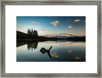 Mount Rundle And Two Jack Lake Framed Print