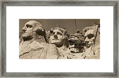 Mount Rushmore Construction  Framed Print by American School
