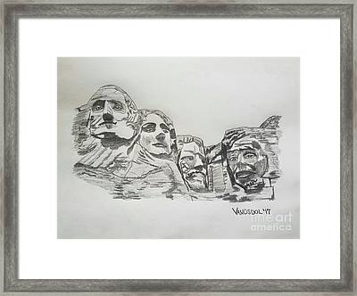Mount Rushmore Graphite Pencil Sketch Framed Print by Scott D Van Osdol