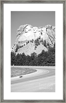 Mount Rushmore National Monument Profile Against Clear Sky With Highway South Dakota Black And White Framed Print