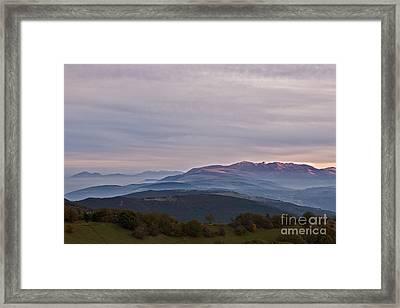 Mount San Vicino At Dusk, Italy Framed Print
