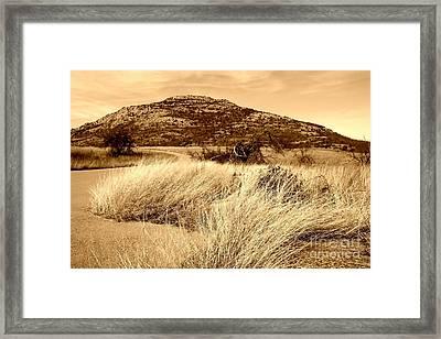 Mount Scott In Sepia Framed Print by Mickey Harkins