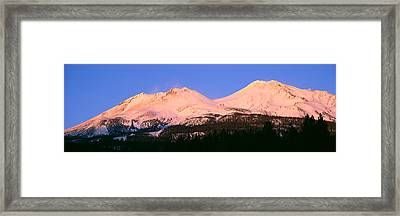 Mount Shasta At Sunset, California Framed Print by Panoramic Images