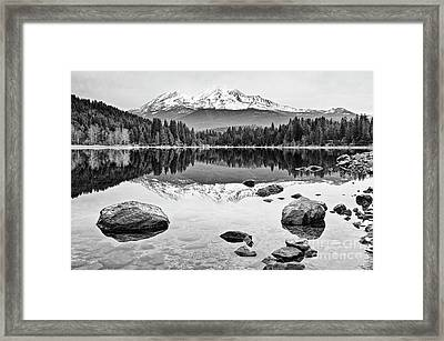Mount Shasta From Lake Siskiyou In California Framed Print