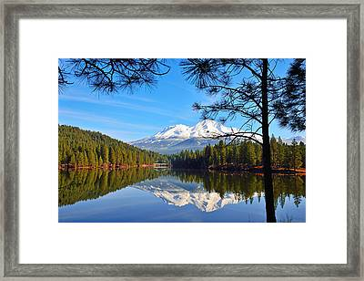 Mount Shasta Reflections On The Lake Framed Print by Kathy Yates