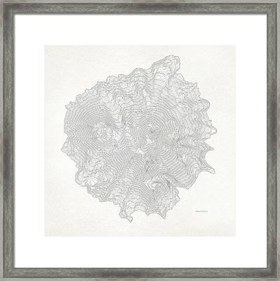 Mount Shasta Vintage Art Print Contour Map Of Mount Shasta In California Framed Print