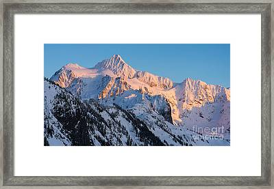 Mount Shuksan Alpenglow Framed Print by Mike Reid