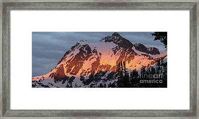 Mount Shuksan Brilliant Alpenglow Framed Print by Mike Reid