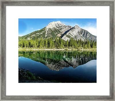 Mount Skogan Reflected In Mount Lorette Ponds, Bow Valley Provin Framed Print