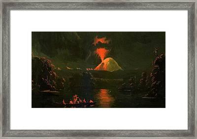 Mount St Helens Erupting At Night Framed Print