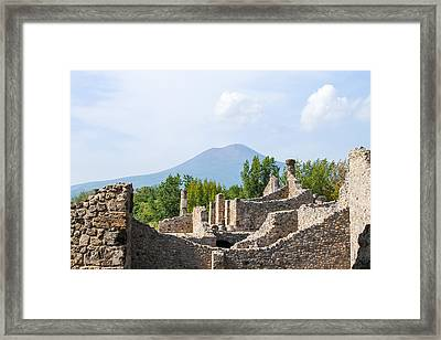 Mount Vesuvius Beyond The Ruins Of Pompei Framed Print