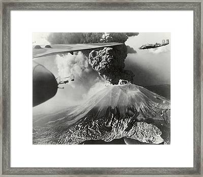 Mount Vesuvius Coughs Up Ash And Smoke Framed Print by Us Army Air Forces Official