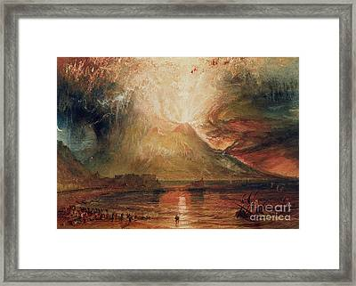 Mount Vesuvius In Eruption Framed Print by Joseph Mallord William Turner