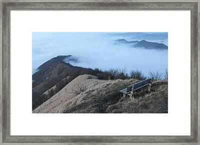 Mountain And Fog Framed Print