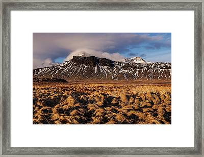 Framed Print featuring the photograph Mountain And Land, Iceland by Pradeep Raja Prints