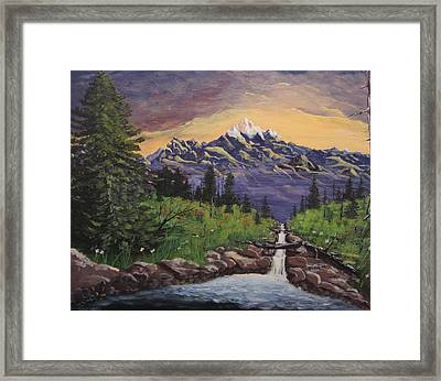 Mountain And Waterfall 2 Framed Print