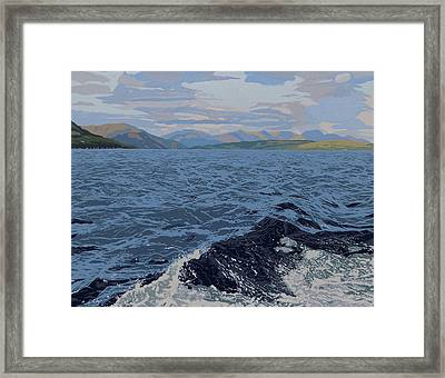 Mountain And Waves Framed Print by Malcolm Warrilow