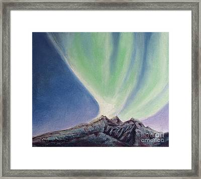Framed Print featuring the painting Mountain Aurora by Stanza Widen