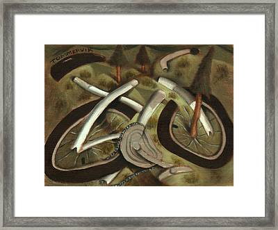 Framed Print featuring the painting Tommervik Abstract Mountain Bike Art Print by Tommervik
